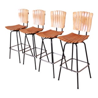 Arthur Umanoff Style Mid-Century Modern Swivel Bar Stools, Set of Four For Sale