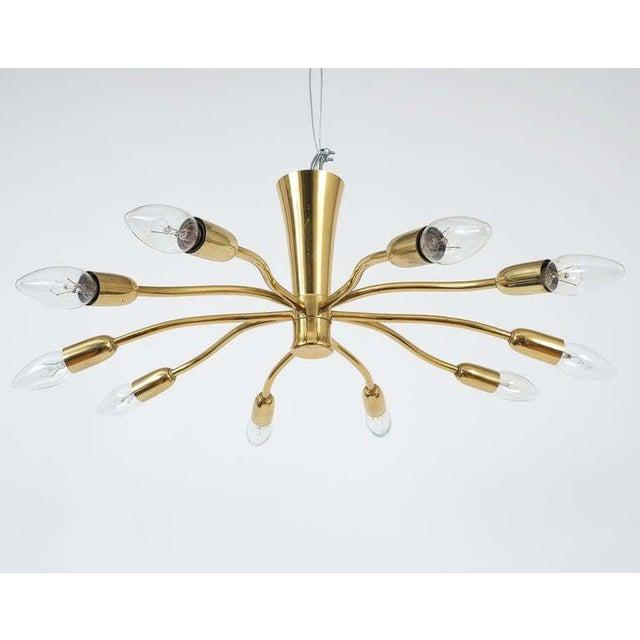 J.T Kalmar Brass Sputnik Scorpio Chandelier Ceiling Lamp Light, 1950 For Sale - Image 6 of 7