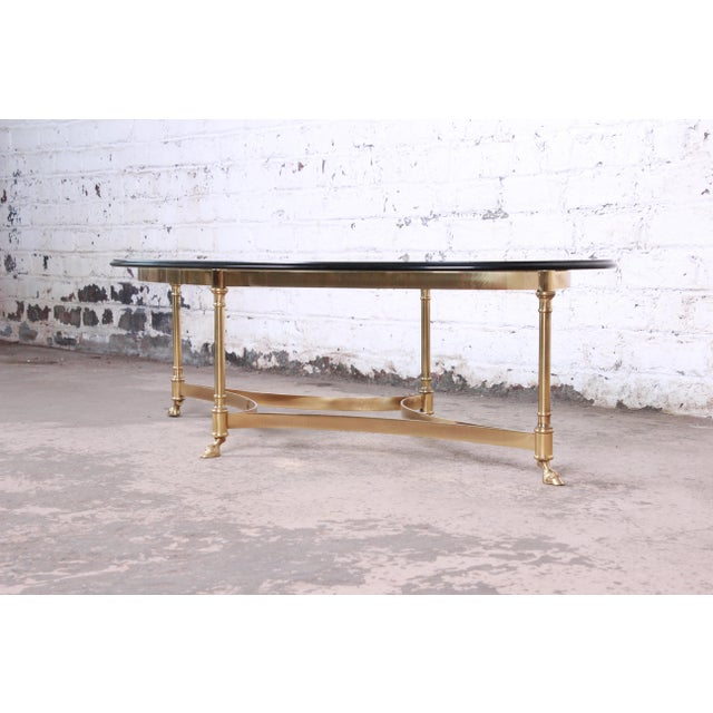 Labarge Labarge Mid-Century Hollywood Regency Brass and Glass Hooved Feet Coffee Table For Sale - Image 4 of 9