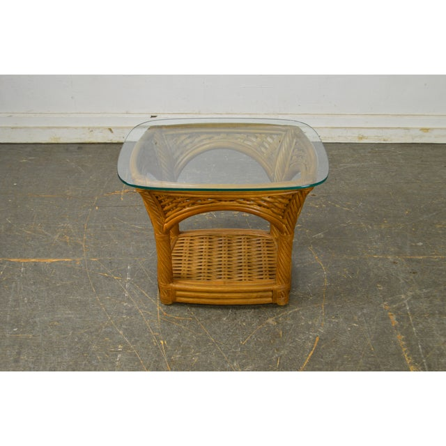Crate & Barrel Glass Top Rattan Side Table For Sale - Image 11 of 13