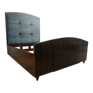 Art Deco Henredon Furniture Reference by Patrick Aubriot Mahogany Queen Upholstered Panel Bed For Sale