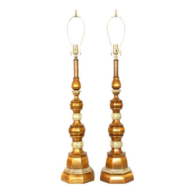 Hollywood Regency Italian Giltwood Lamps - Pair - Image 1 of 8