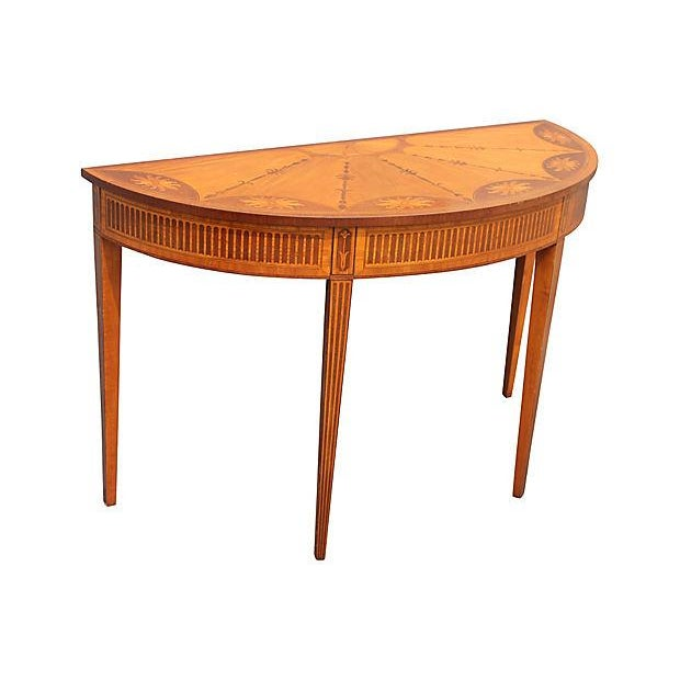 Wood Inlay Demilune Console Table - Image 4 of 9