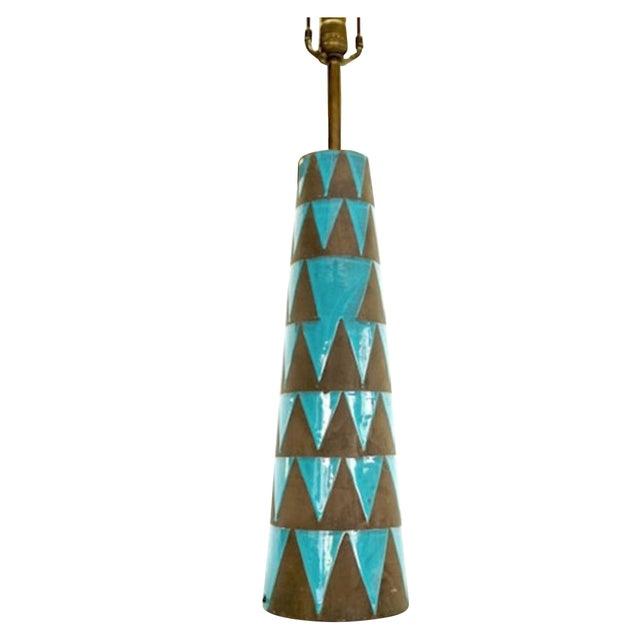 Raymor Turquoise Triangle Lamp - Image 1 of 6