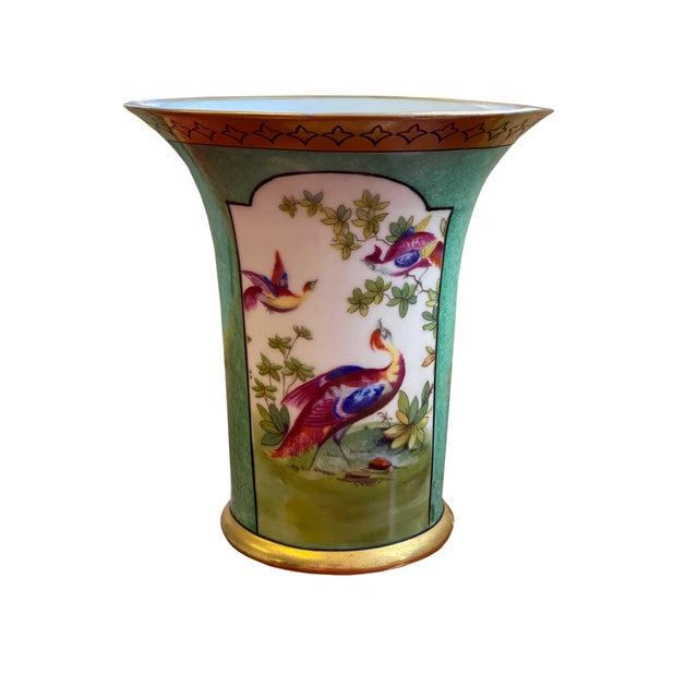 Ceramic German Vase With Oriental Pheasants For Sale - Image 7 of 7