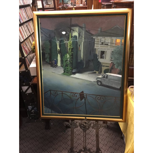 A street scene at night. This painting has a calming effect on the viewer. Very nice use of color. The painting retailed...