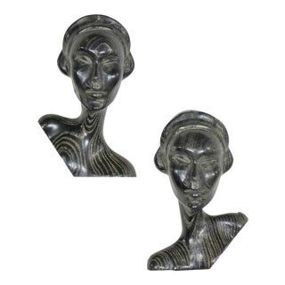 Art Deco Style Ebonized Oak Carved Female Bust Vintage Wall Sculptures, a Pair For Sale