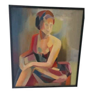 Mid Century Vintage Figurative Woman Oil Painting For Sale