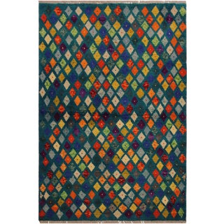 "Balouchi Essie Teal/Ivory Wool Rug - 3'6"" X 4'11"" For Sale"