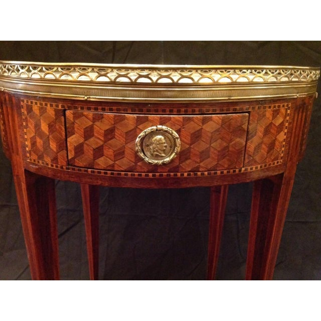 Metal 19th Century French Inlaid Bouillotte Table For Sale - Image 7 of 9