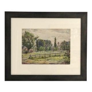 1945 Vichy France Landscape Watercolor For Sale