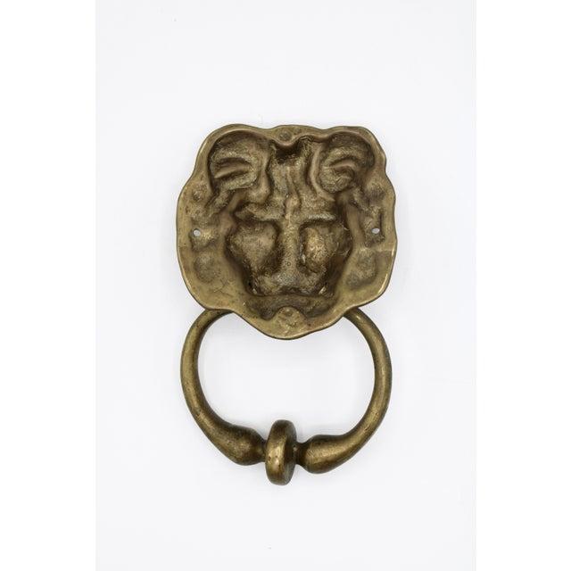 Vintage Lions Head Brass Door Knocker For Sale - Image 9 of 11