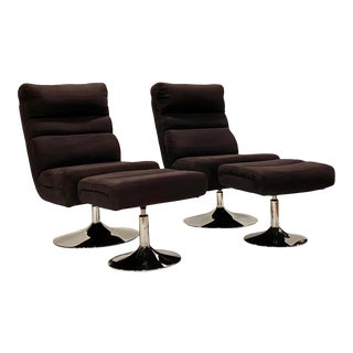 Pair of Vintage Swivel High Back Orb Chairs and Ottomans For Sale