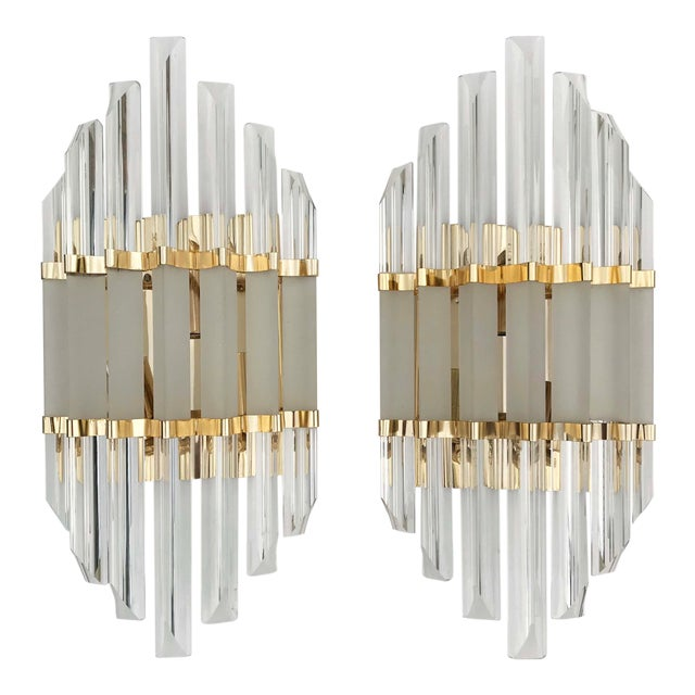 1970s Murano Glass and Brass Wall Sconces - a Pair For Sale