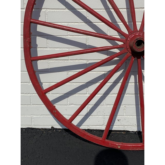 """Late 19th Century Antique Red Wooden Wagon Wheel 43"""" Diameter 16 Spoke Nice For Sale - Image 5 of 8"""