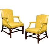 Image of 1940s Vintage Grosfeld House Leather Armchairs- a Pair For Sale