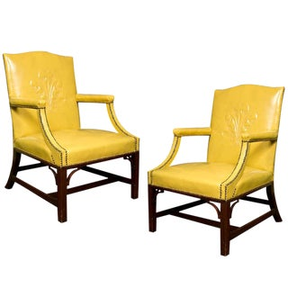 1940s Vintage Grosfeld House Leather Armchairs- a Pair For Sale