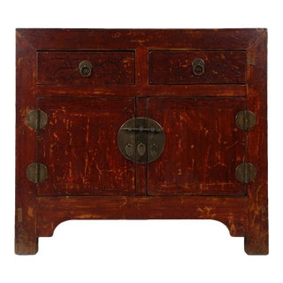 Chinese Antique Red Lacquered Shan XI Cabinet For Sale
