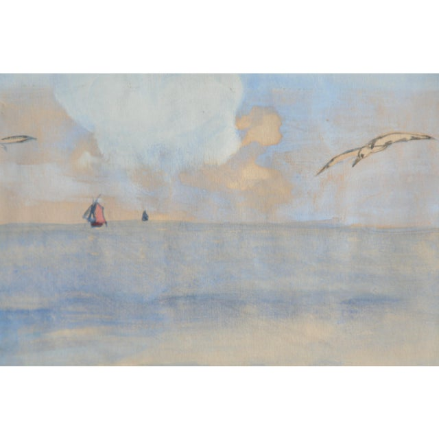 Impressionism Vintage Watercolor of Coastal Seascape For Sale - Image 3 of 6
