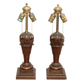 Carved Table Lamps - A Pair For Sale