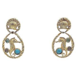Trifari Seahorse Cabochon Rhinestone Earrings For Sale