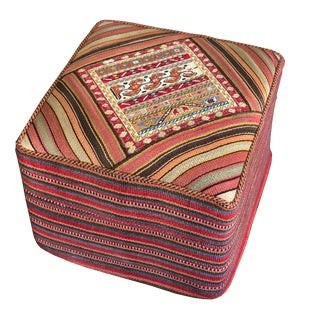 1980s Vintage Hand Woven Ottoman Stool For Sale