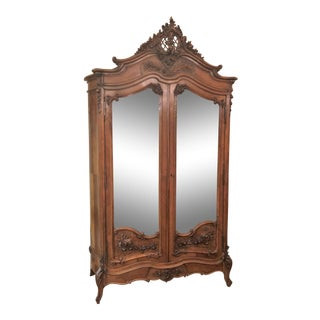 Antique French Museum Quality Carved Walnut Armoire, Carved by Master Craftsman. For Sale