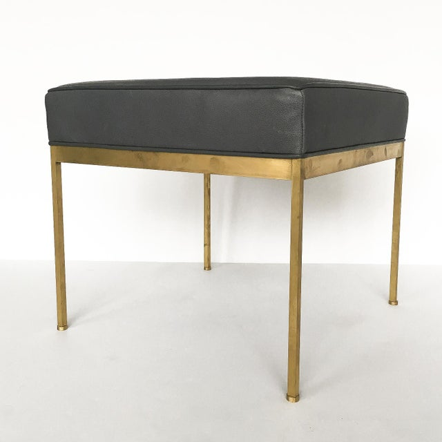 Lawson-Fenning Square Brass & Slate Gray Leather Ottomans - A Pair - Image 4 of 8