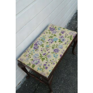 1930s Vintage Queen Anne Style Vanity Stool Bench Preview