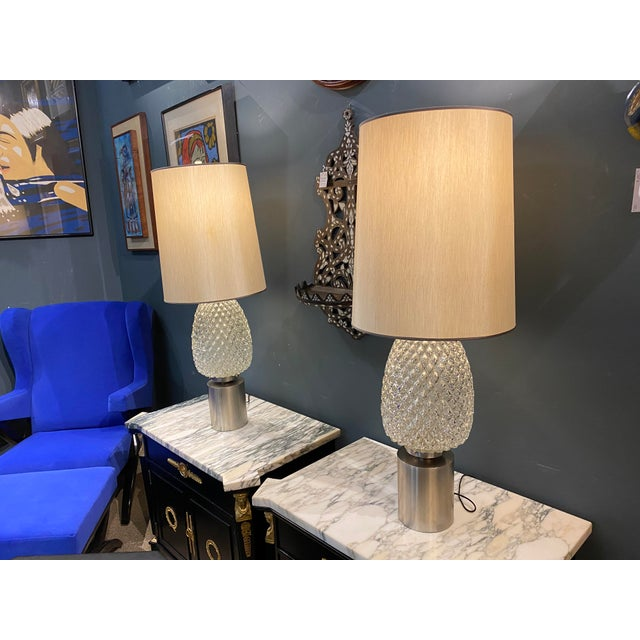 60s Pressed Glass Lamp - a Pair For Sale - Image 4 of 13
