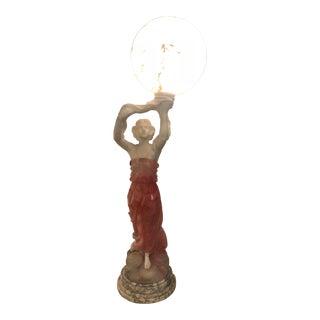 Huge Antique Alabaster & Rose Quartz Sculpture Lamp For Sale