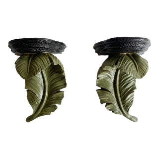 Mid-Century Hanging Palm Leaf Shelfs - a Pair For Sale