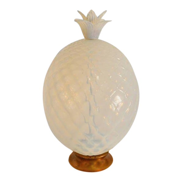 Large Seguso Murano Glass Quilted Opalescent Pineapple Lamp for Marbro For Sale