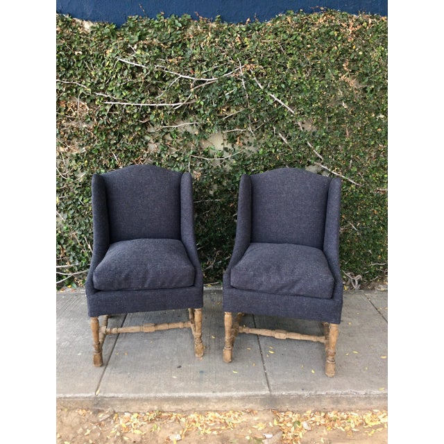 Blue & Gray Side Chairs - Set of 4 For Sale In Los Angeles - Image 6 of 11