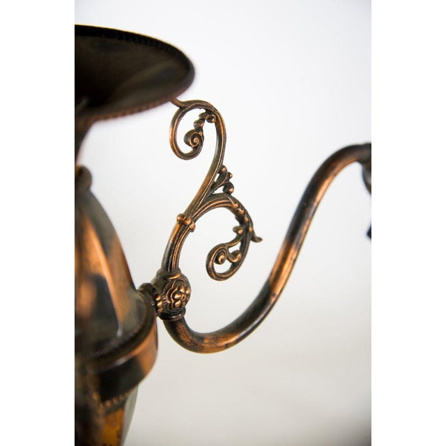 1930s Victorian Copper and Green Frosted 3 Light Chandelier For Sale - Image 12 of 13