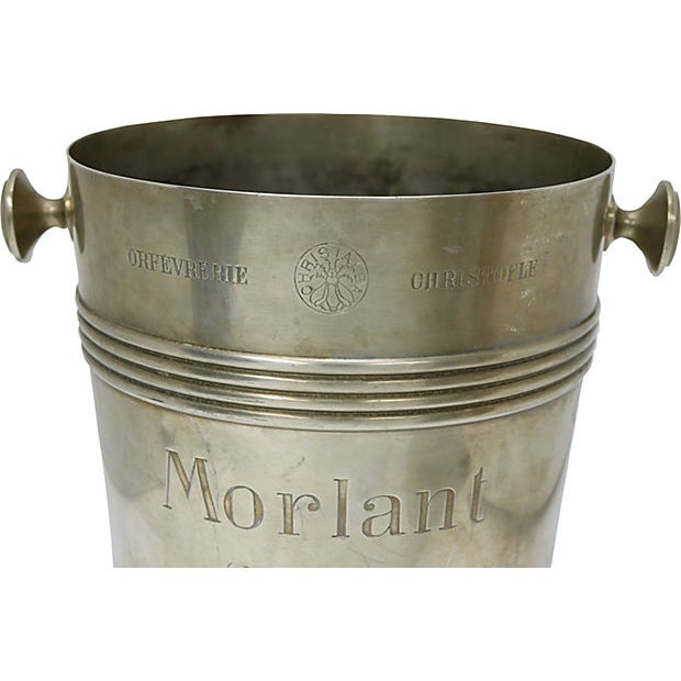 Rare French Champagne Bucket made by Christofle for the Morlant Champagne company, which dates it to circa 1940. On the...