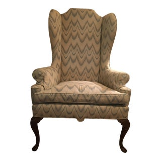 Antique Queen Anne Tall Wing Back Chair For Sale