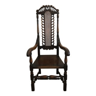 Late 19th Century Mediterranean Gothic Oak Chair For Sale