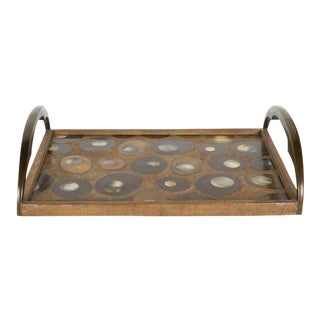 Organic Modern Shagreen Tray With Mother-Of-Pearl Inlays & Bronze Hardware For Sale