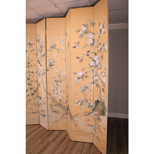 Monumental Oriental 2 Piece 8 Panel Hand Painted Folding Screen Room Divider For Sale - Image 4 of 13