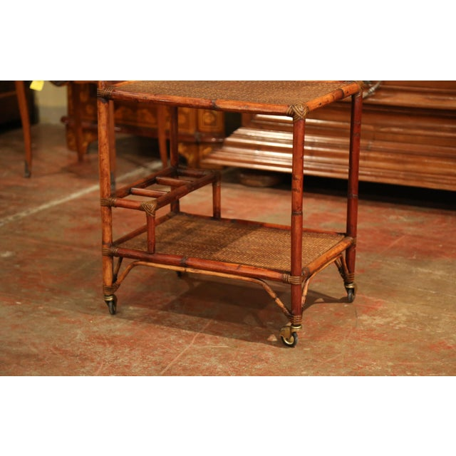 Early 20th Century Early 20th Century French Patinated Bamboo Two-Tier Bar Cart For Sale - Image 5 of 9