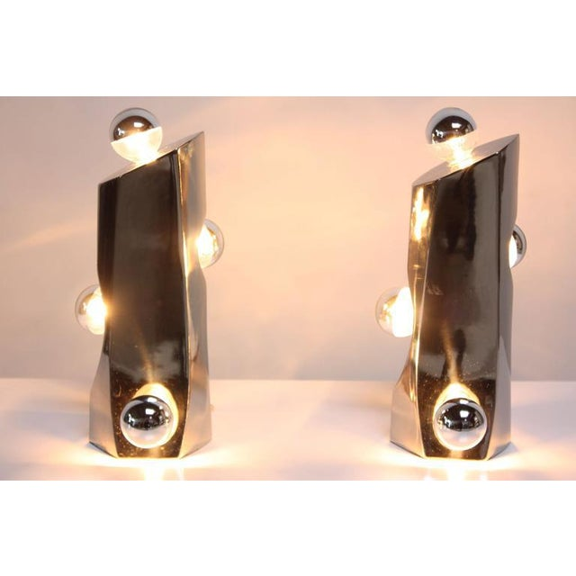 Mid-Century Modern Polished Chrome Free-Form Table Lamps - Image 6 of 11