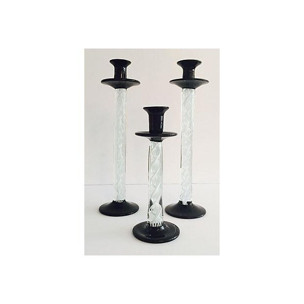 Murano Black & White Candlesticks - Set of 3 - Image 2 of 6