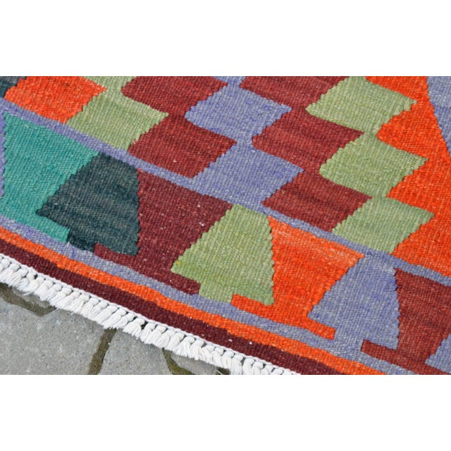 "Handmade Turkish Kilim Runner - 3'8"" X 9'8"" - Image 10 of 10"