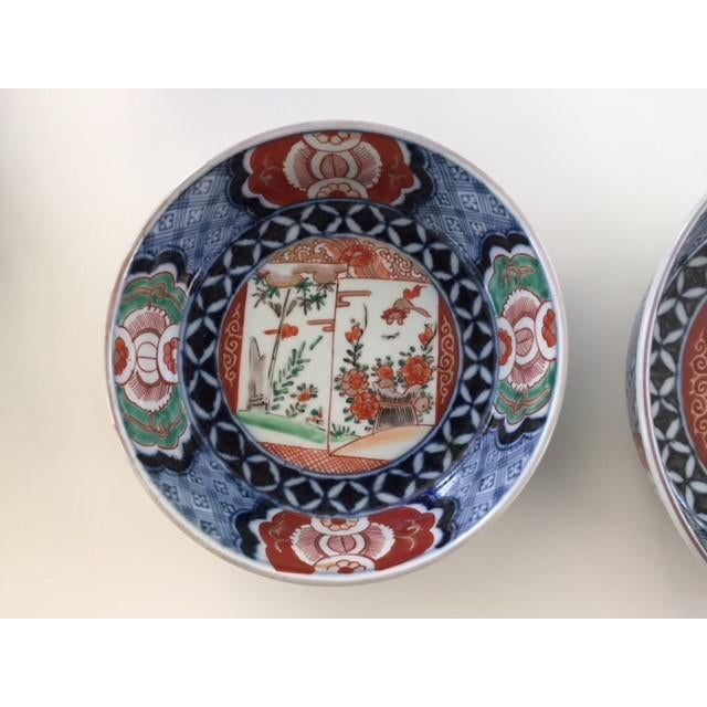 Asian Antique 1835 Japanese Imari Porcelain Colored Bowls - a Pair For Sale - Image 3 of 13