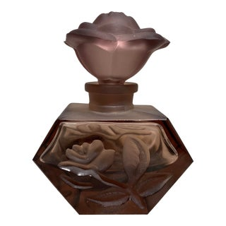 1980s Vintage Floral Stopper & Purple Smoke Glass Perfume Bottle For Sale