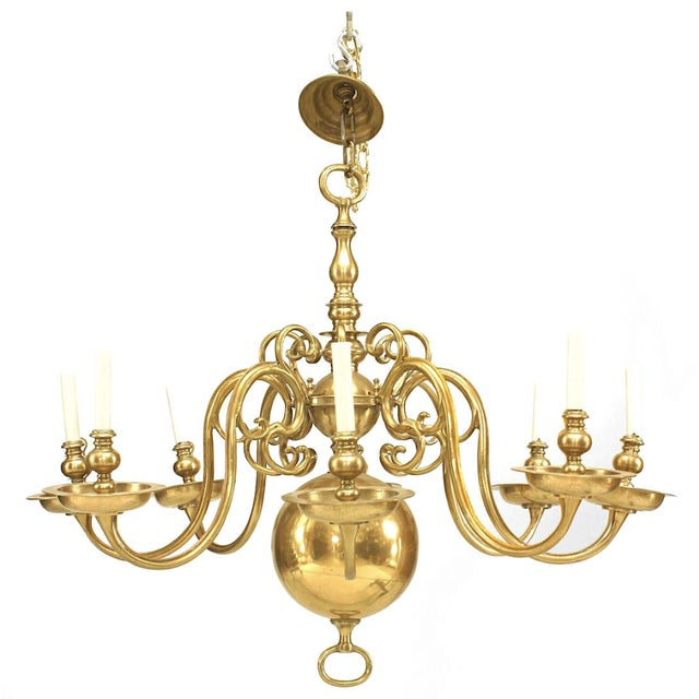 English Georgian Style Brass Chandelier For Sale - Image 4 of 4