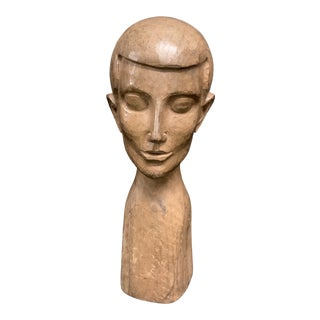 Vintage Late 20th Century Carved Wood Paper Mache Male Bust Sculpture For Sale