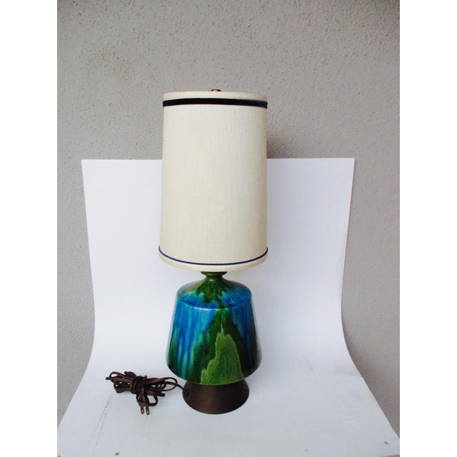 Mid-Century Modern Turquoise Ceramic Table Lamp - Image 2 of 11