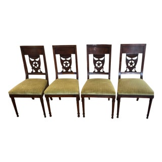 Antique 19th C Russian Empire Star & Shield Coat of Arms Dining Chairs - Set of 4 For Sale